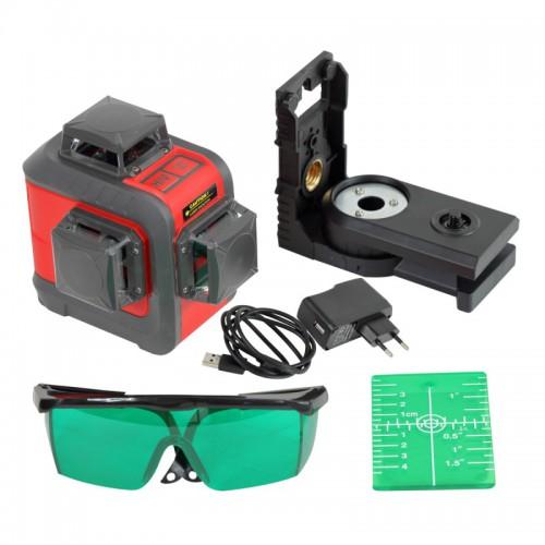 Poziomnica laserowa pozioma 2x pionowa 360° PROLINE 15169