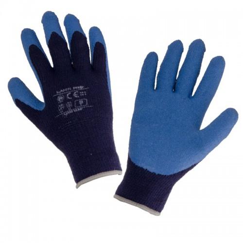 Rękawice ochronne ocieplane powlekane lateksem niebieskie